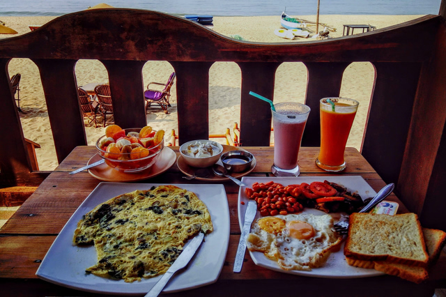 hearty breakfast at a tropical beach resort